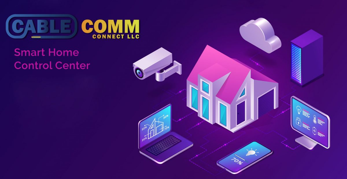 Smart home isometric, internet of things concept vector illustration. Control center with surveillance monitoring camera, computer and laptop, home and cloud icon purple banner, ultraviolet website