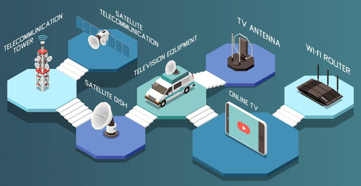 Isometric composition with different telecommunication devices and television equipment 3d vector illustration