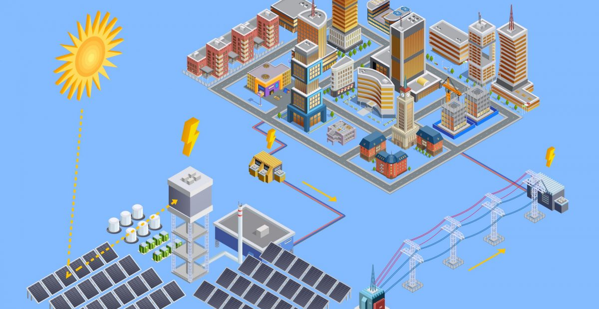 Isometric poster of modern city which gain energy from  solar electricity station with mirror plates vector illustration